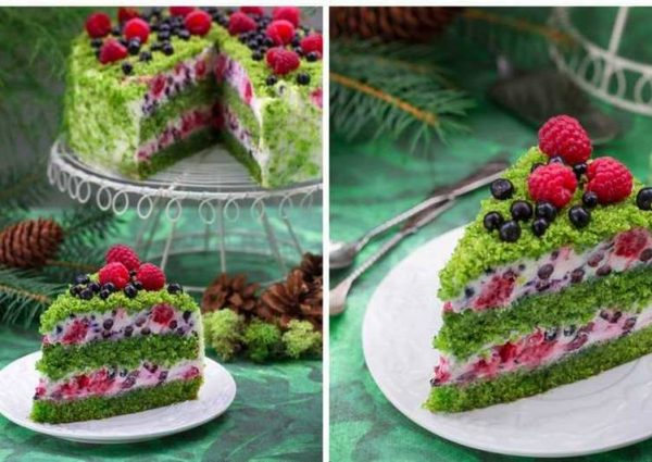 tort liesnoi mokh intieriesnyi tort s nieobychnym zielienym biskvitom основное фото рецепта