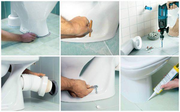 Как установить унитаз на плитку своими руками без подготовки